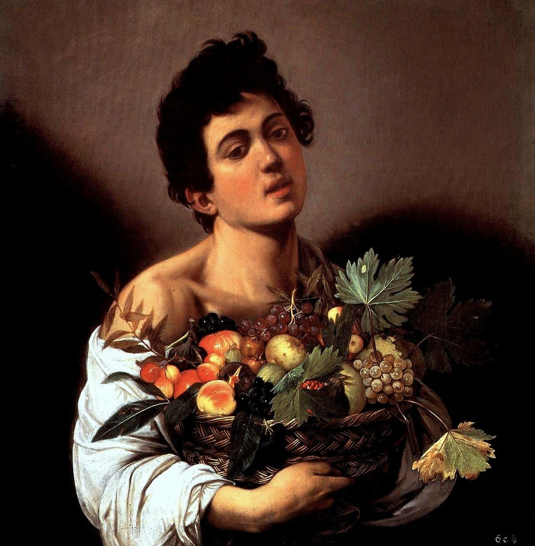 Boy with a Basket of Fruit (1593-1594), oil on canvas, Galleria Borghese, Rome | artwork by Caravaggio