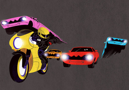 naruedyoh:  Pac-Man Vapor Chase: Inky, Blinky, Pinky and Cars // Artist: Mitch Loidolt Artist links: (Blog) (Tumblr) (Society6) (Flickr)