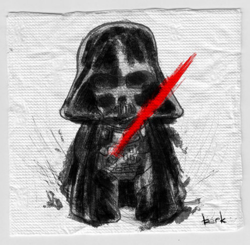 Even as a mere sketch upon a napkin, Lord Vader has the power to destroy you. Awesome devilish illustration by Berk Ozturk. Related Rampages: Angry Birds Evolution | Zombie Pikachu (More) Darth Vader Napkin Sketch by Berk Ozturk (Facebook) (DinoDream)