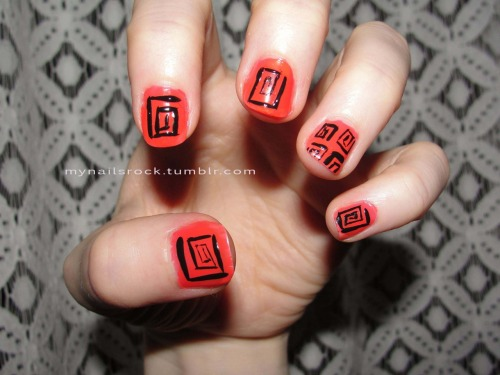 Square tribal shapes.  Here are some square-ish  shapes over a neon red. Polish used: American Apparel Neon Red