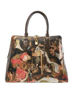 "ghoulnextdoor:  Friday Fripperies  Alexander McQueen Bosch Tote* | Bag Bliss ""…this colorful, tapestry-like bag is paying homage to Dutch painter  Hieronymus Bosch (pronounced ""Boss""). The early renaissance artist was  famous for his religious triptychs (i.e. a painting consisting of three  panels). The Garden of Earthly Delights is his most well-known triptych,  with the right panel depicting a scene from hell. It is a portion of  this panel that you see on the front and back sides of this bag."" *Unfortunately, this bag is probably long since sold out.  GIVE UNTO ME."