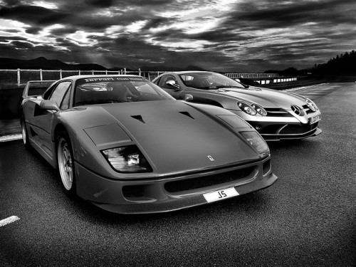 Ferrari F40 v Mclaren SLR by Baby Skinz on Flickr.