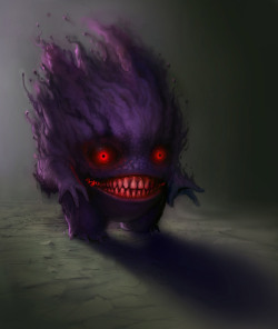 justinrampage:  The dual-type Ghost/Poison Pokémon Gengar gets a super creepy redesign by artist Gavin Mackey. Just try going to sleep tonight… Related Rampages: Patrick Star | Raticate Gengar - Commission by          Gavin Mackey / SoupAndButter