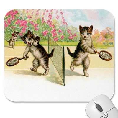 victoriancats:  cats. playing tennis. on a mouse pad. yes please.  This guy right here.