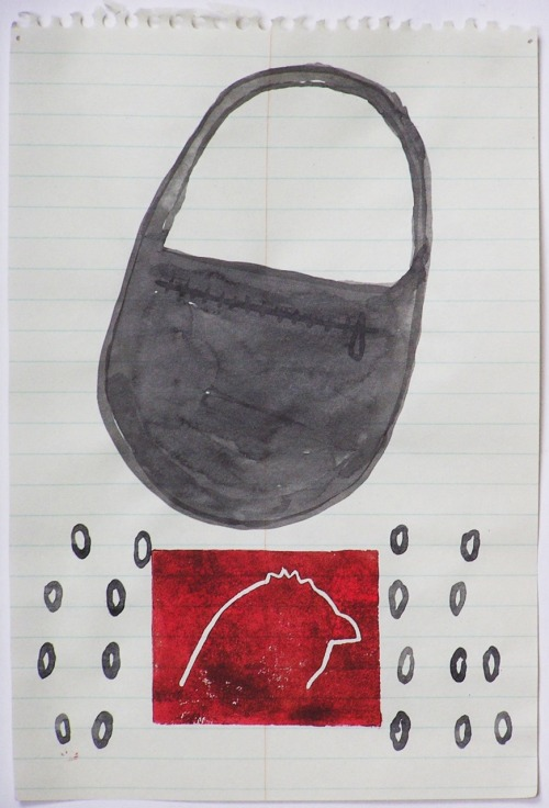 "Purse, from ""100 Drawings"" project (mixed media, 9x6"")"