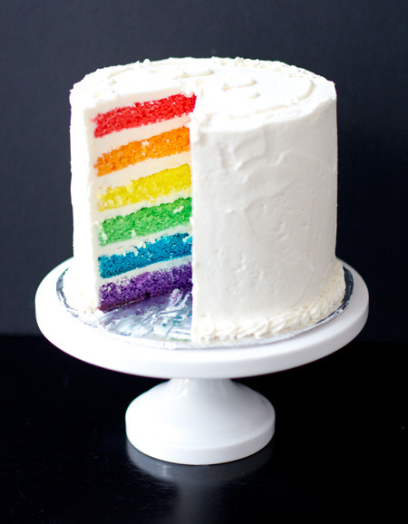 "glamourazzii:   Rainbow Cake with White Chocolate Buttercream  This recipe is a bit uneven. I  used 6"" pans, and the layers were too thick and and I had way too much  frosting. I think it'd be better suited to a 7"" or even 8"" cake, so  adjust as necessary depending on the size of your cake pans. Cake recipe from Cooks Illustrated. Frosting recipe from Martha Stewart. Ingredients: For Cake: 2 1/4 cups cake flour (9 ounces) 1 cup whole milk, at room temperature 6 large egg whites (3/4 cup), at room temperature 2 teaspoons almond extract 1 teaspoon vanilla extract 1 3/4 cups granulated sugar (12 1/4 ounces) 4 teaspoons baking powder 1 teaspoon table salt 12 tablespoons unsalted butter (1 1/2 sticks), softened but still cool Red, orange, yellow, green, blue, and purple gel food coloring For Frosting/Filling: 2 1/2 cups granulated sugar 10 large egg whites 2 pounds (8 sticks) unsalted butter, cut into tablespoons, softened 2 teaspoons pure vanilla extract 1 pound best-quality white chocolate, melted and cooled Directions: Preheat oven to 350 degrees. Prepare your  cake pans by first liberally buttering the pans, then line the bottoms  with parchment paper rounds. Butter the rounds and set aside. Pour milk, egg whites, and extracts into 2-cup glass measure, and mix  with fork until blended. Mix cake flour, sugar, baking powder, and salt  in bowl of electric mixer at slow speed. Add butter; continue beating  at slow speed until mixture resembles moist crumbs, with no powdery  streaks remaining. Add all but 1/2 cup of milk mixture to crumbs and  beat at medium speed (or high speed if using handheld mixer) for 1 1/2  minutes. Add remaining 1/2 cup of milk mixture and beat 30 seconds more.  Stop mixer and scrape sides of bowl. Return mixer to medium (or high)  speed and beat 20 seconds longer. Divide batter evenly between six medium bowls. Add enough of each  color of food coloring to each bowl, whisking, until desired shade is  reached. Transfer each color to an individual cake pan. Transfer to oven  and bake until a cake tester inserted into the center of each cake  comes out clean, about 15-25 minutes (working in batches if necessary). Let cakes rest in pans for 3 minutes. Loosen from sides of pans with a  knife, if necessary, and invert onto wire rack. Allow to cool  completely. At this point, the layers can also be wrapped in plastic  wrap and frozen. To make frosting, put sugar and egg whites in the heatproof bowl of  an electric mixer, and set over a pan of simmering water. Whisk  constantly until sugar is dissolved and mixture registers 140 degrees on  an instant-read thermometer. Transfer bowl to an electric mixer fitted with the whisk attachment;  beat on medium-high speed until fluffy and cooled, about 10 minutes.  Continue beating until stiff peaks form. Reduce speed to medium-low; add butter by the tablespoon, beating  well after each addition. Beat in vanilla and white chocolate. (Any  leftover frosting can be refrigerated in an airtight container up to 3  days or frozen up to 1 month.) To assemble, using a serrated knife, trim tops of cakes to make  level. Place four strips of parchment or waxed paper around perimeter of  a cake stand or lazy Susan. Place the purple layer on the cake plate.  Scoop a 1/2 cup (or more for a larger cake) buttercream filling over the  first layer and spread with a small offset spatula so it extends just  beyond edges. Repeat process with blue, green, yellow, and orange  layers. Place the remaining red layer on top, bottom-side up. Gently sweep  away any loose crumbs with a pastry brush. Using an offset spatula,  cover the top and sides with a thin layer of frosting (also use any of  the excess frosting visible between the layers). Refrigerate until set,  about 30 minutes. Using a large offset spatula, cover cake again with remaining frosting."