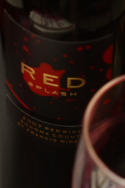 "Red Splash on Flickr. Via Flickr: The wine is a blend of merlot (48%), cabernet sauvignon (28%), syrah (10%), zinfandel (3%) and the mysterious category of ""mixed blacks"" for 6%. Read about it here. This one's definitely going on our shortlist! Vivitar 90mm f/2.8 Macro + 2X Vivitar Teleconverter on a 30D [ 0.013 sec (1/80) 