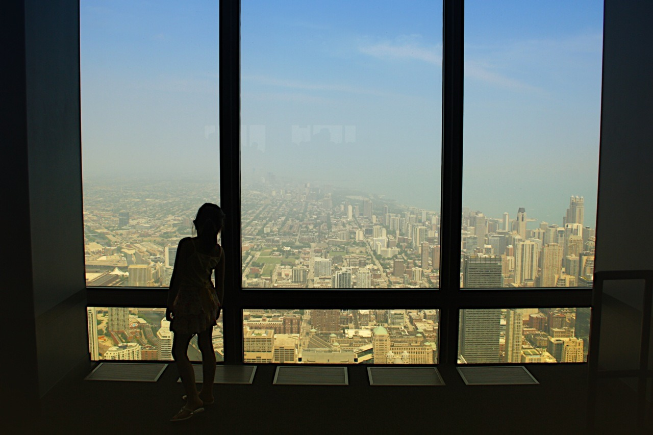 A girl watches over the city from skydeck Chicago.