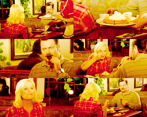 Leslie: Why would anyone ever eat anything besides breakfast food? Ron: People are idiots, Leslie  THEMED PARTY: CHALLENGE 18 - food