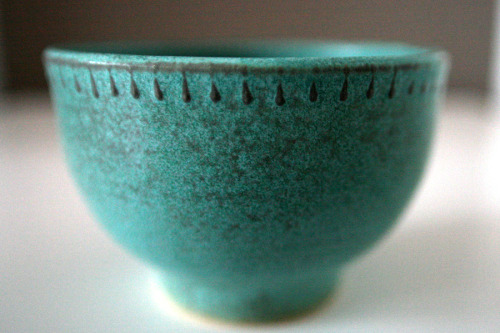 """Bannister"" bowl in verdigris."