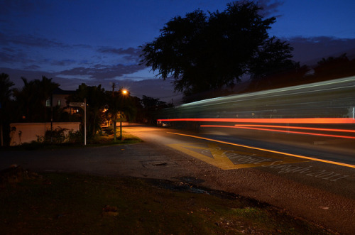 "Trailing Lights by SSarbjit on Flickr.Via Flickr: Taken this evening this is a long shot showing trailing lights of a passing bus. Camera Settings: Lens 17mm f/10 Shutter Speed 2"" ISO 800"
