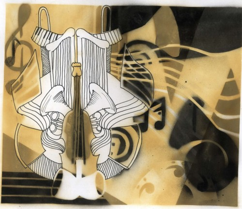 danigallogly:  Orchestra - Spray Paint, Stencils and Pens.