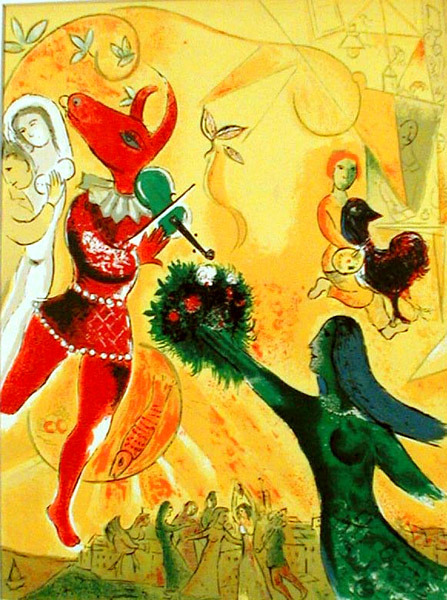 The Dance by Marc Chagall, circa 1950-51  color lithograph after a painting One of my absolute favorite artists. Reminded of him while paging through a 1977 ARTnews magazine while working at library.