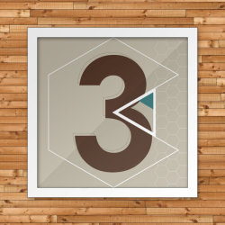 "Past Numerals ""3"" is the first in a series of 6 graphic panels, each featuring one of six stylized numeral fonts. These panels are fun on their own, but when they are combined in the full series, they are are a great wall accent and conversation piece."