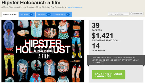 The Kickstarter campaign for HIPSTER HOLOCAUST is going amazing. We've got two weeks left and we're almost halfway there.  All we need is $79 to make it to the halfway point: $1500. Helping us get reach this goal would be the best weekend present you could give us… and yourself, because we have some awesome rewards, especially if you donate $50 which will you get you a custom portrait of yourself as a dead hipster drawn by our very own poster artist: Austin Breed! Thanks guys and have a great weekend! Click Here to Support HIPSTER HOLOCAUST on Kickstarter and get some cool swag!