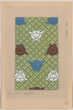 Title: [Ito nishiki (yarn brocade)] Date Created/Published: [between ca. 1750 and 1900] Medium: 1 drawing : color. Summary: Print shows stylized designs, possibly of rabbits, for kimonos.
