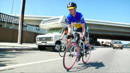 ridetheblackline:  LIVING AND RIDING IN L.A.  Coinciding with the DVD release of To Live And Ride In LA from Trafik Pictures, LA Weekly just dropped a cool little article about riding fixed in in the streets of Los Angeles.  So go check out what my buddy Sean Martin has to say about never coasting in the city.  Read the full article HERE.  And make sure to come to the To Live & Ride In LA DVD release party tomorrow night. Doesn't is kinda suck that Mr. Seattle/Alaska Transplant Sean Martin is the Poster Boy for LA cycling. I guess he really is taking over Los Angeles.