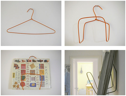 DIY Magazine Rack All you need is a wire clothes hanger and your set!
