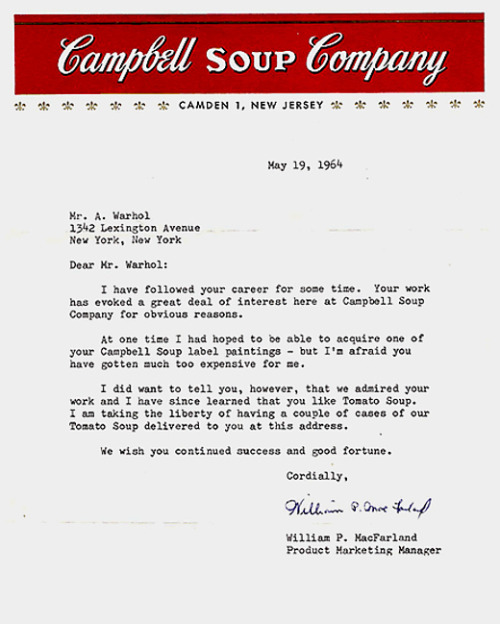 letter from Campbell's Soup to Andy Warhol (1964) (via rhizome)