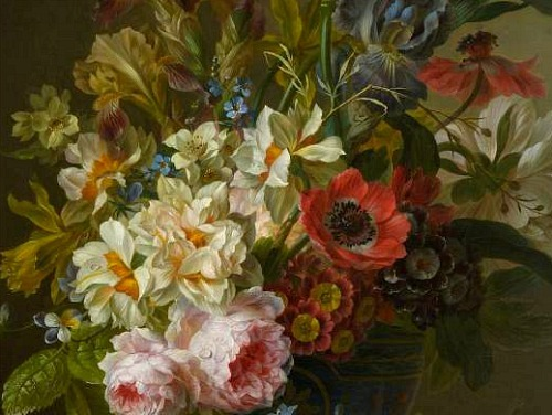 stilllifequickheart:  Willem van Leen Bowl of Flowers, detail 18th century