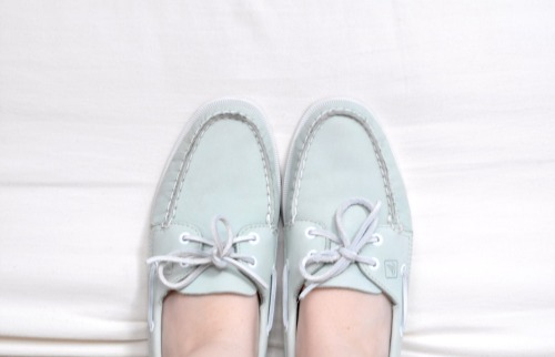 80s mint green Sperry Topsider boat shoes.