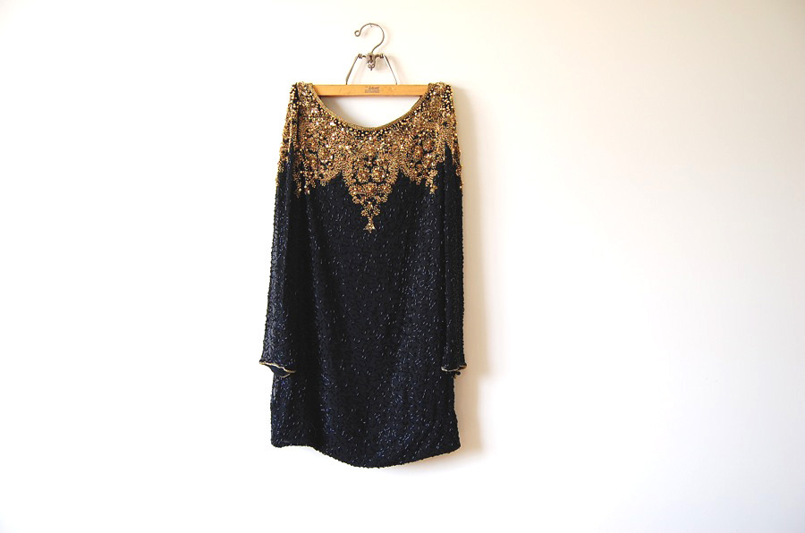 70s art deco beaded slouch dress
