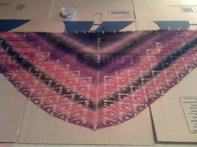 knittinginthered:  New shawl.  Note to self: use flattened boxes for blocking!