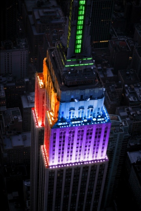 thedailywhat:  Photo of the Day: The Empire State Building's pre-scheduled rainbow light display honoring NYC Pride Week becomes that much more meaningful in light of the state's legalization of same-sex marriage. [@thinkprogress.]