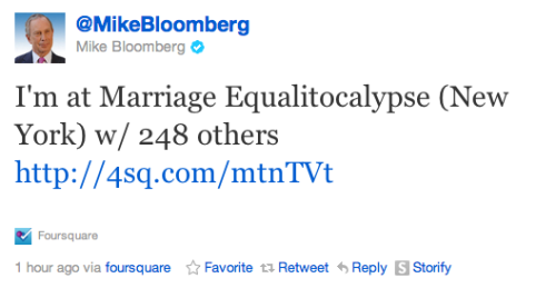 laughingsquid:  Mayor Bloomberg Checks Into Marriage Equalitocalypse on Foursquare