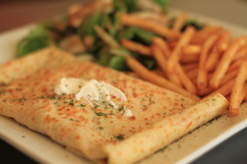 salmon with ricotta cheese and spinach crepe. the crepe cafe, montreal.