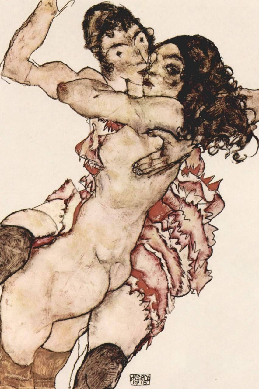 Egon Schiele Pair of Women 1915