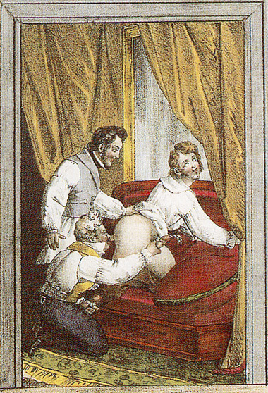 "From a collection of early 19th Century erotica Caption: ""Ah! What a sweet little arse!"" (via Gay Art - 19th Century Gay Erotica - The World History of Male Love)"