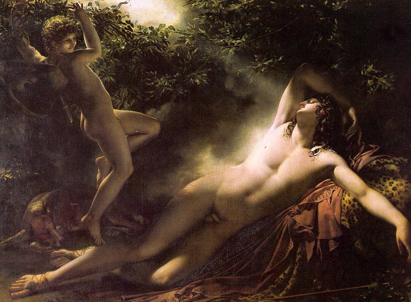 The Sleep of Endymion Anne-Louis Girodet de Roussy-Trioson 1791 (via CGFA- Girodet-Trioson: Endymion Asleep)