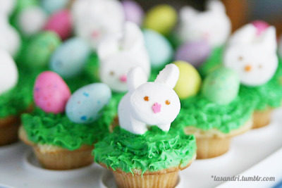 Bunnies & Eggs Easter Cupcakes cake yellowfrosting vanilladecoration bunnies (marshmallow, pink sprinkle, brown gel), Whoppers easter eggs