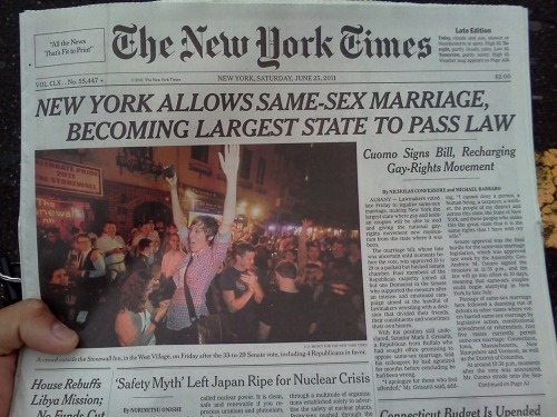 yerawizardharry:  The New York Times front page, Saturday 25 June 2011.