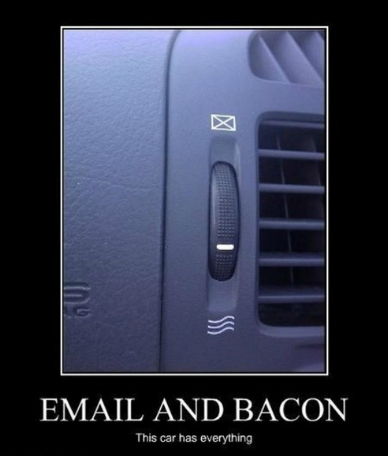 "This is a photo of the ""Email & Bacon"" feature in my KIA… That's right, this car has everything…"