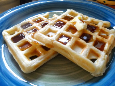 I made waffles for the first time ever for breakfast this morning! Aren't they beautiful? I used my brand-spanken-new-never-been-used- waffle-iron I got for $10 dollars at a garage sale! It was surprisingly easy, and they were seriously delicious! With a little bit of butter and some dark, organic pure maple syrup.. num-o!!