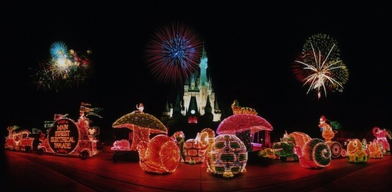 A promotional shot of the Main Street Electrical Parade.  It's the longest-running parade in Disney theme park history. It's also one of the largest Disney parades, consisting of 23 floats, 80 performers and more than 600,000 lights. The parade originally debuted at Disneyland park on June 17, 1972.  The Magic Kingdom park received its own version which debuted June 11, 1977, and was performed nightly through 1991. It returned 1999-2001, and again for a third time in 2010.