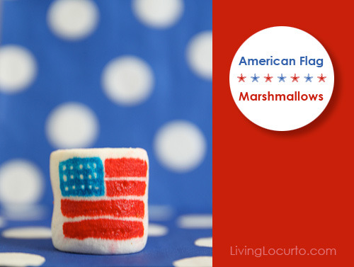 (via American Flag Marshmallows | Living Locurto - FREE Printables, recipes, party ideas and crafts.) Fun and easy Fourth of July craft.
