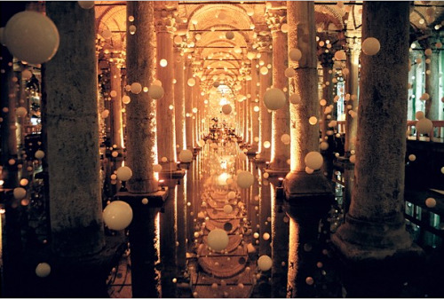The Basilica Cistern (Yerebatan Sarai), built in the 6th century, is the largest of several hundred cisterns that lie beneath Istanbul, Turkey.