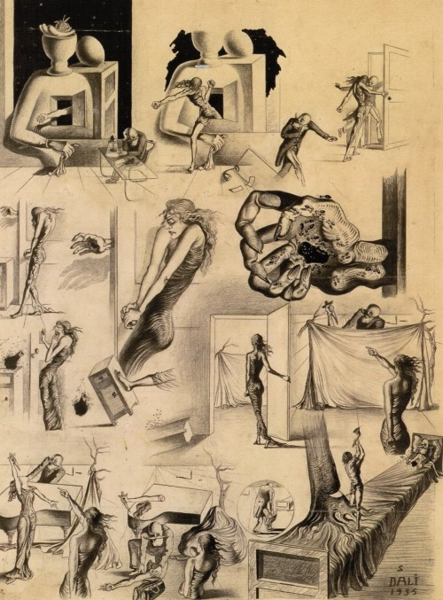 "Salvador Dali - Study for the Scenario for The Surrealist Mystery of New York (1935)  ""Outside his window, an anthropomorphic skyscraper is used for breeding hysterical mediums. One of these mediums escapes from the glacier and enters the head's room and rushes towards him threateningly.  He prudently flees, but in her fury, the medium shuts the door, ripping off his hand. The medium is terrified to discover the horrible hole at the centre of the hand through which thousands of ants begin to emerge. The hand writhes in agony and now becomes a horrible ball crawling with ants and a swarm of bees that have also come out of the hole.""  -excerpt from the prologue of Salvador Dali's unrealized film script for The Surrealist Mystery of New York (via)"