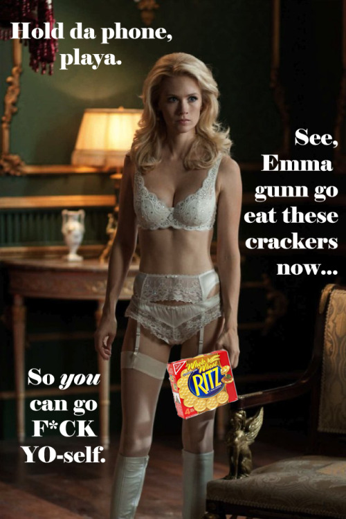 When Erik and Charles break down the door and surprise Emma mid-snack, this is all I could think of. I'm pretty sure this is exactly what she told that Soviet general before she mind f*cked him into f*cking himself on the bed.