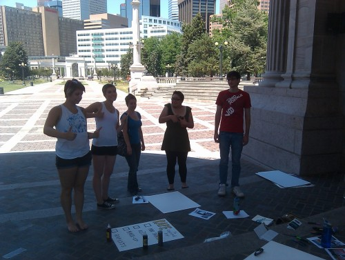 jonathan-cunningham:  Preparation for the Denver Slutwalk