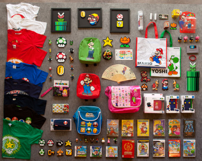 thingsorganizedneatly:  ed: This week I laid out all of the prizes for Mario Marathon 4, a charity event which is happening online, RIGHT NOW, until Tuesday. Tune in and donate to Child's Play!