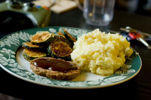BBQ grilled seitan, mashed yukon golds, and fried zucchini. First time making seitan, came out pretty good.