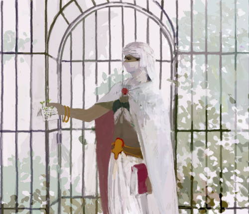 [Picture: Minwu(FF2) standing with a letter in front of a gated garden.]
