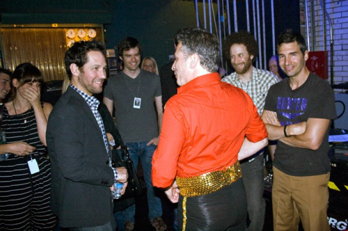 Paul Rudd, Bill Hader, Jon Stewart, Jon Glaser, and Paul Dinello backstage at the Legally Prohibited from Being Funny on Television Tour in New York City