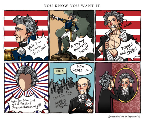 inkyparthia:  I swear, out of all the presidents, Andrew Jackson has the most fab hair. It's the first thing I notice when I pull out a 20 dollar bill or maybe I am just odd like that I'm sure John Quincy Adams secretly wanted Andrew Jackson's hair as well; JUST LOOK AT THAT FLOWING MANE