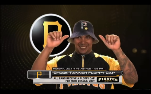 oldtimefamilybaseball:  The Pirates have, remarkably, taken the first two games in their series against the Red Sox and stand only 3 games out of first place, so far be it from me to question their infinite wisdom when making and promoting their giveaways.  But a floppy hat, which hasn't been in fashion since the halcyon days of Mike Williams, featuring the extremely tacky American Flag logo and a patch for Chuck Tanner? I'm sorry, guys, but this is an absolute mess.  Add in a clearly humiliated Jose Tabata modeling this thing and you have the Manos: The Hands of Fate of ballpark giveaways.