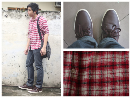 LOOKBOOK MODE. LOL. Ukay plaid flannel top. F&H straight cut jeans. Awesome shoes from Mom. Sling bag from Topman. Fashion backward.
